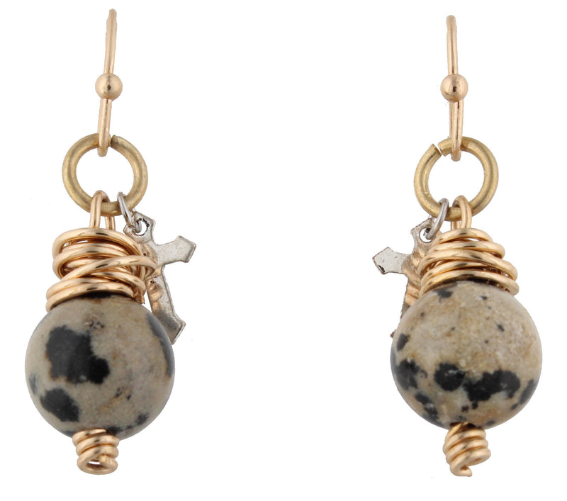 Dalmation Bead and Cross Charm Dangle Earring - Debs Boutique  LLC
