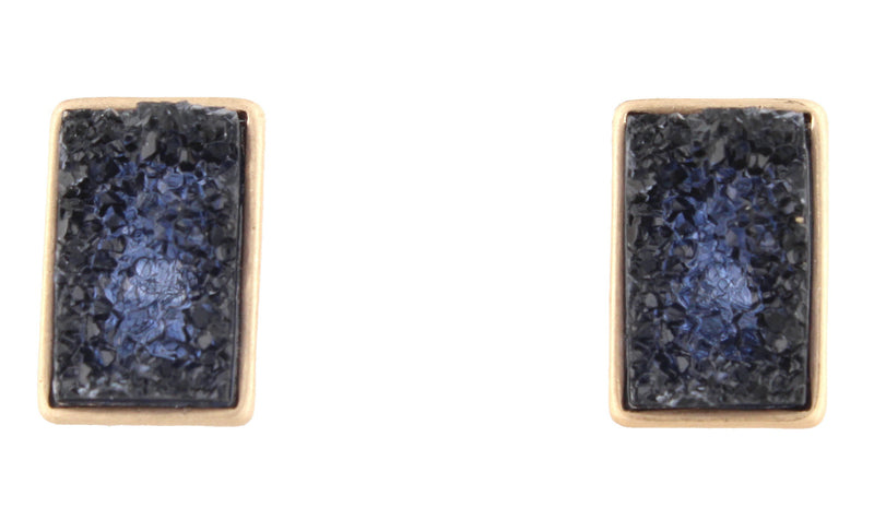 Black Rectangle Druzy Stud - Debs Boutique  LLC