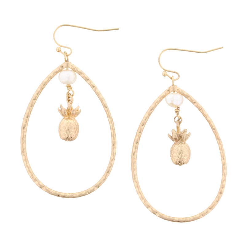 Oval with Pearl & Pineapple Earrings
