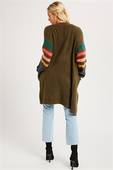 Multi Color Knit Long Cardigan
