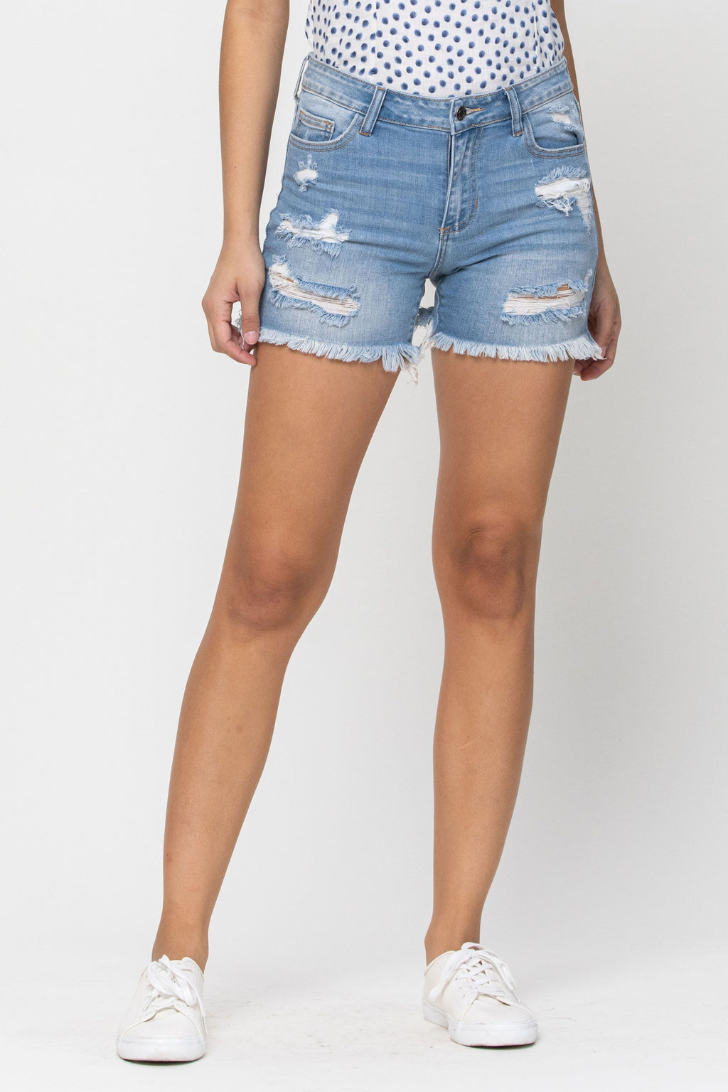 High Rise Cut Off Fray Shorts