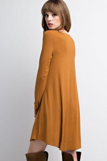 Bamboo Fabric Long Sleeved Pocket Knit Dress