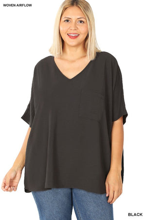 Woven Airflow V-Neck Dolman Short Sleeve Top