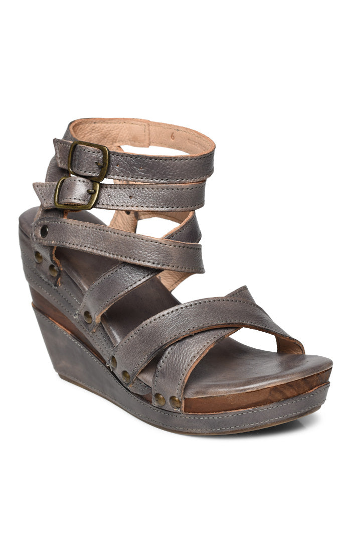 Juliana Leather Wedge with Crisscrossing Straps