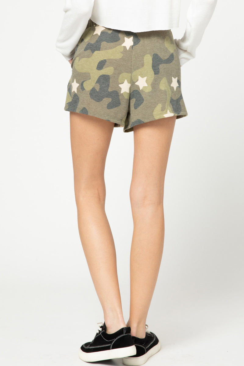 Camo and Star Print Shorts