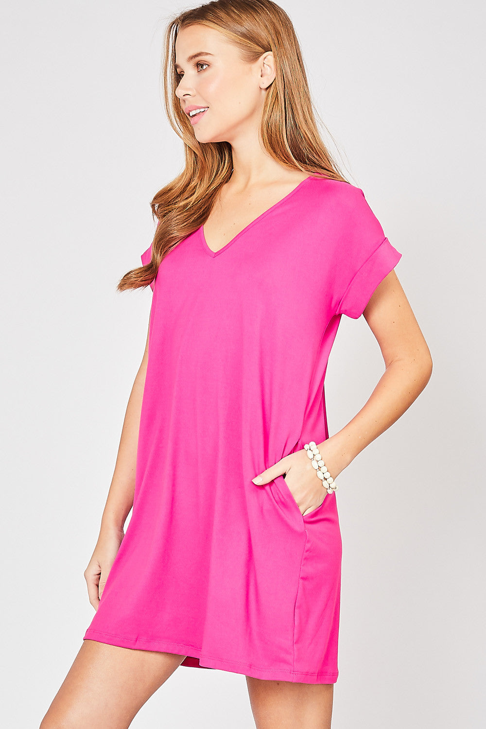 V-Neck Dress with Side Pockets