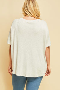 V-Neck Top w/Wooden Button Detail at Front