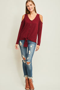 Low Neckline Cold Shoulder Button Up Top