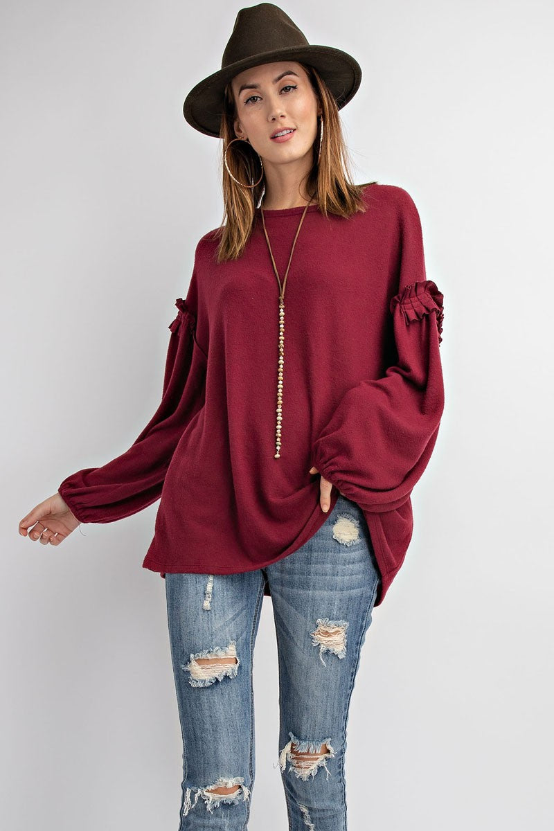 Ruffled Trim Bubble Sleeve Top