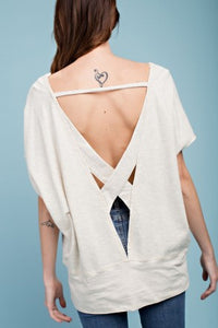 Soft Terry Knit Boxy Tee Open Back Basic Top