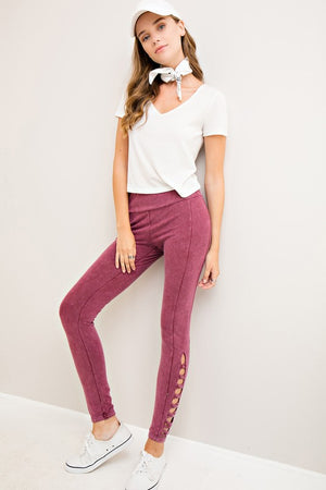 Acid Wash Mid Waist Casual Pant with Cutout Detail
