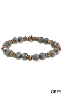 Glass Bead Rondelle Stretch Bracelet