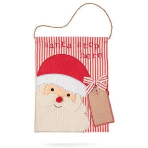 Mud Pie Santa Stop Door Flag - Debs Boutique  LLC