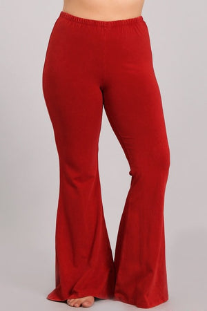 Mineral Washed Bell Bottom Pants with Elastic Waist-Plus Size