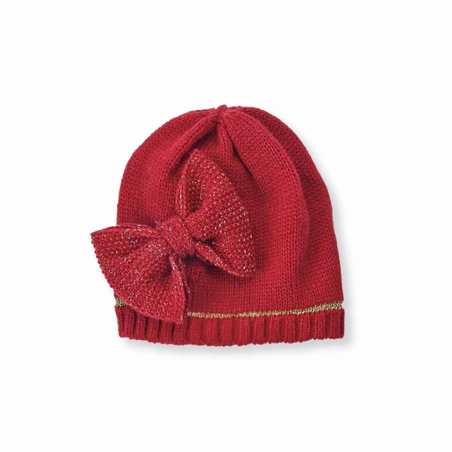 Mud Pie Red Knit Bow Hat