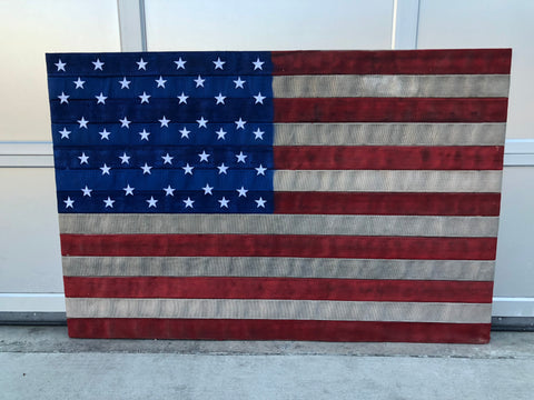 Authentic Red, White and Blue Fire Hose Flag
