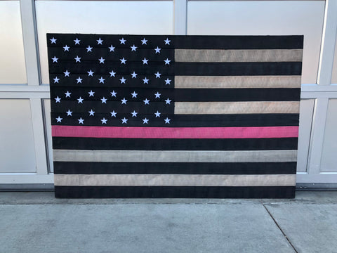 Authentic Pink Line Fire Hose Flag