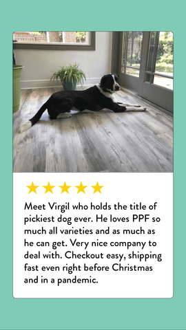 A five-star review from a picky dog who is now eating Portland Pet Food dog food toppers.