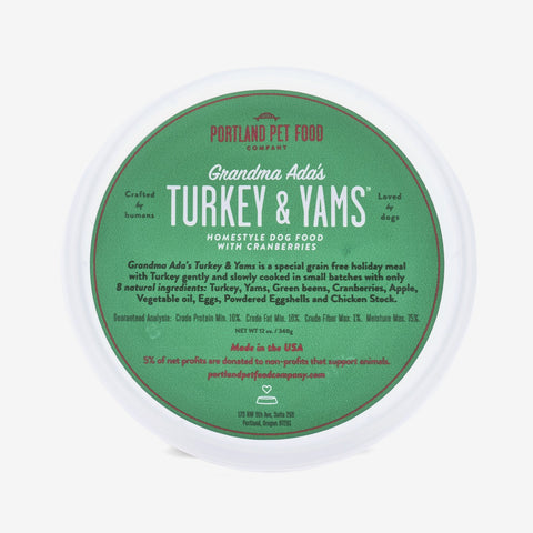 Grandma Ada's Turkey & Yams - Special Grain-Free Holiday Natural Dog Food Meal 6 Pack Available October-January