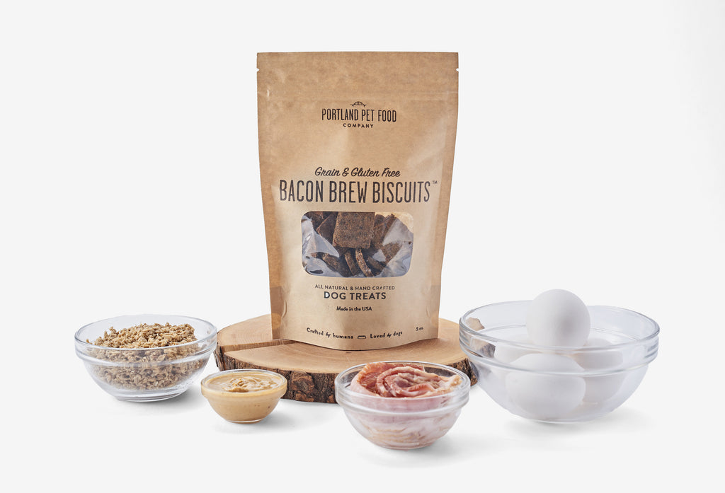 portland pet food company Grain & Gluten-Free Bacon Brew Biscuit Dog Treat all-natural ingredients