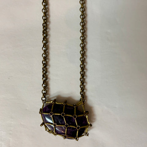 Waiata Purple Calcite & Gold Net Necklace