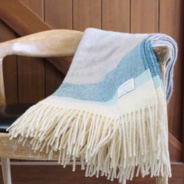 Mt Somers Blanket - Blue Stripe