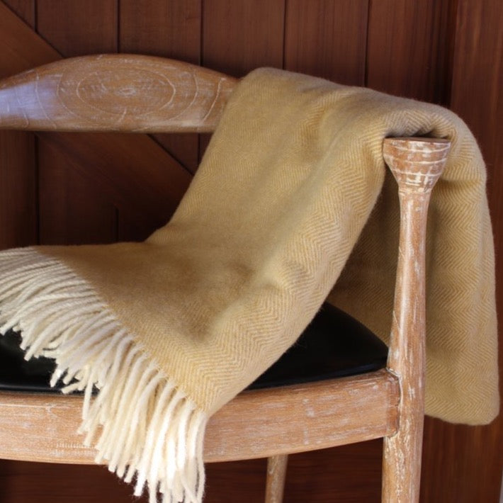Mt Somers Blanket - Mustard Herringbone
