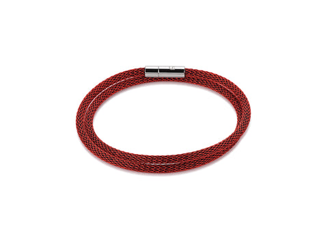 Stainless Steel mesh double wrap bracelet red 0111_35_0300