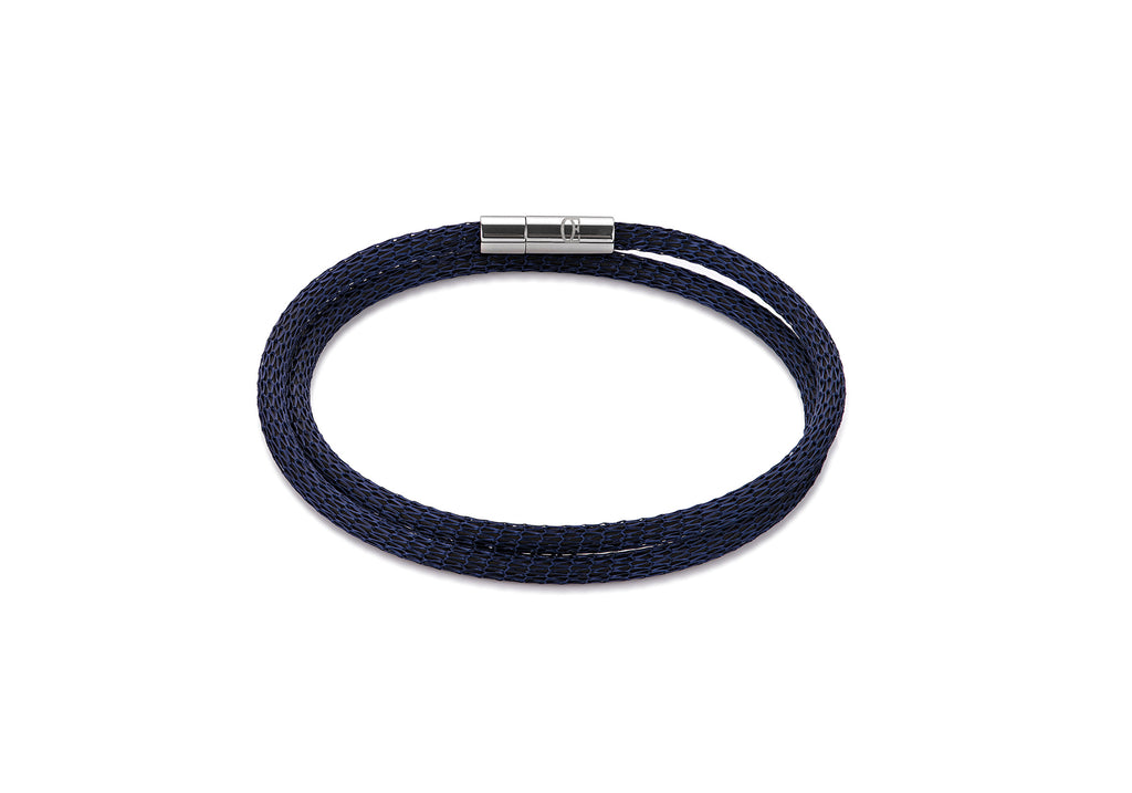 Stainless Steel mesh double wrap bracelet dark blue 0111_35_0721