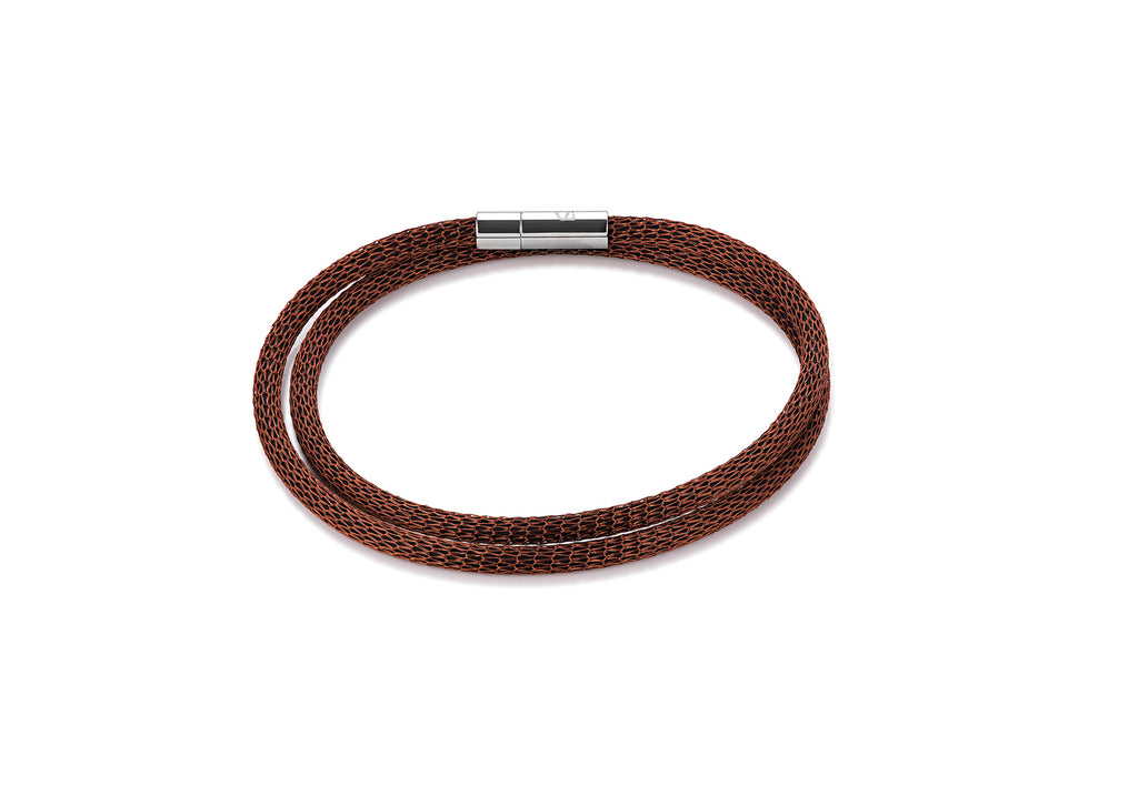 Stainless Steel mesh double wrap bracelet brown 0111_35_1100