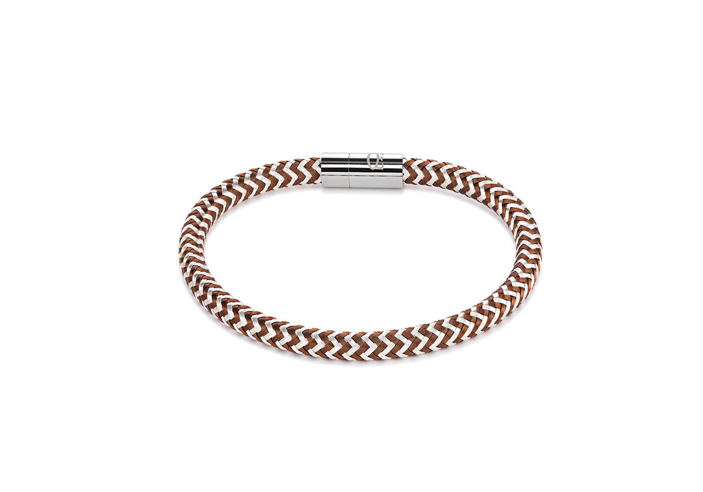 Braided silver plated enamelled bracelet rust 0116_31_1117
