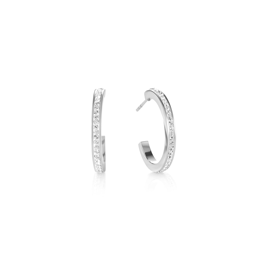 Hoop Silver & Crystal Pavé Earrings  0139_1817