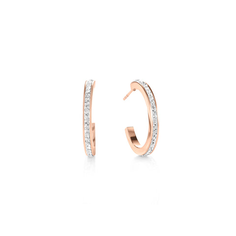 Hoop Rose Gold & Crystal Pavé Earrings 0139_1822