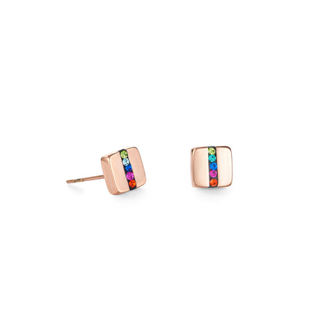 Stud Earrings Square Multicolour 0225/21-1500