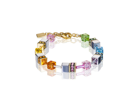 Geo Cube soft rainbow, hematite and gold 4015_1522