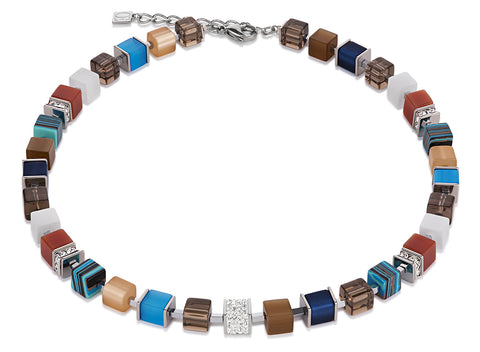 Geo Cube Swarovski® Crystals pavé blue brown 4890_0711