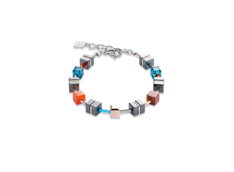 Geo Cube hematite fresh turquoise warm red 4964_0206