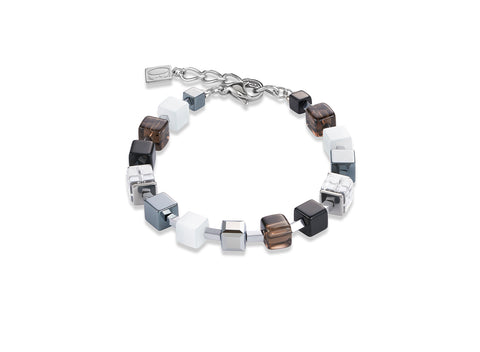 Geo Cube smoky quartz white & black 4984_1700