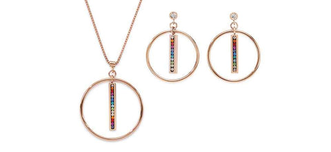 Rainbow pavé set drop & rose gold circle 5001_1500