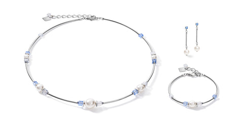 Soft Blue & Swarovski® Pearl on stainless steel 5046_0720