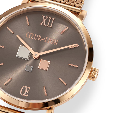 Rose Gold Plated Stainless Steel Cube Watch & Mesh Band 7601_70_1636