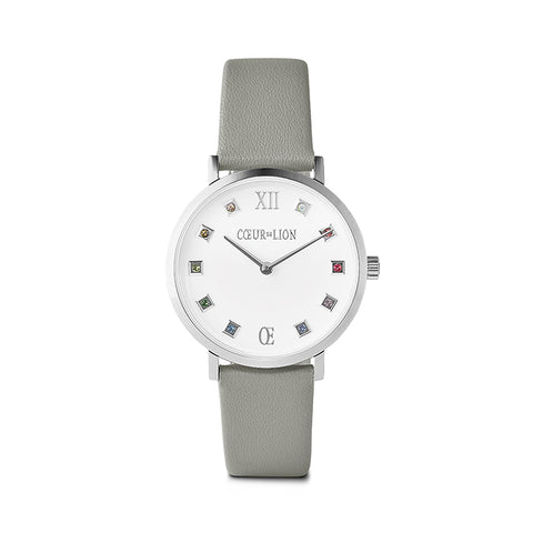 Stainless Steel Swarovski® Crystal Cube Watch & Grey leather band 7610_71_2414