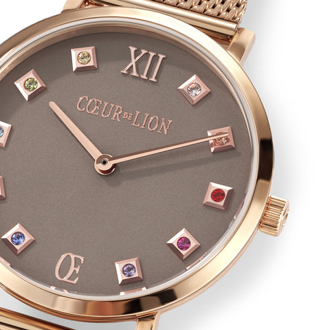 Rose Gold plated Stainless Steel Swarovski® Crystal Cube Watch 7611_70_1636