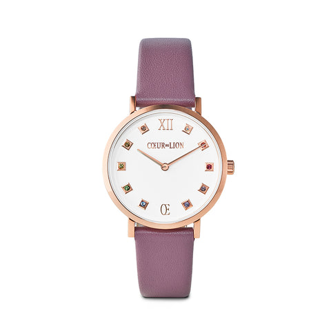 Rose Gold Plated Stainless Steel Swarovski® Crystal Cube Watch & purple leather band 7611_71_0814