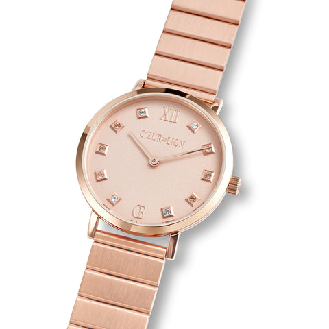 Rose Gold Plated Stainless Steel Swarovski® Crystal Cube Watch & Link band 7611_72_1640
