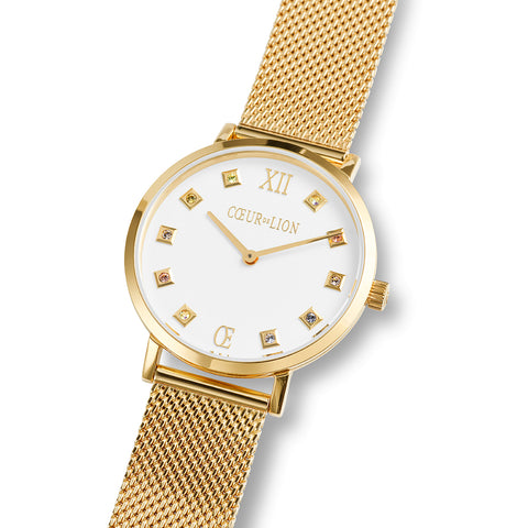 Gold Plated Stainless Steel Swarovski® Crystal Cube Watch & Mesh band 7612_70_1614