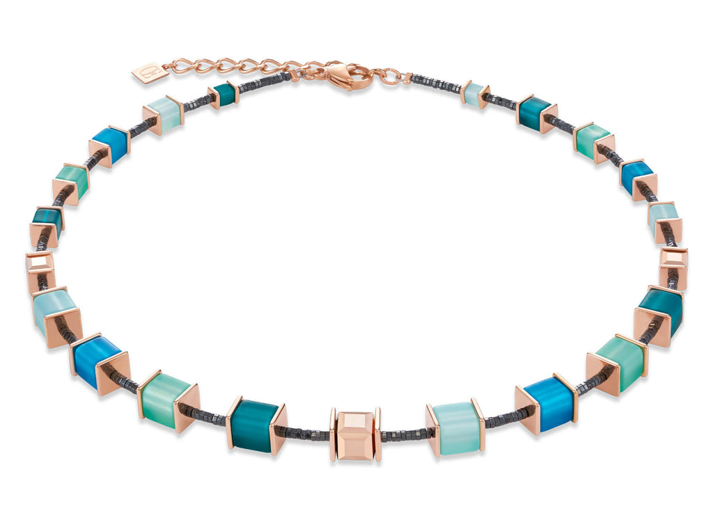 Geo Cube Vibrant Turquoise, Muted Green & Rose Gold 4945_0626