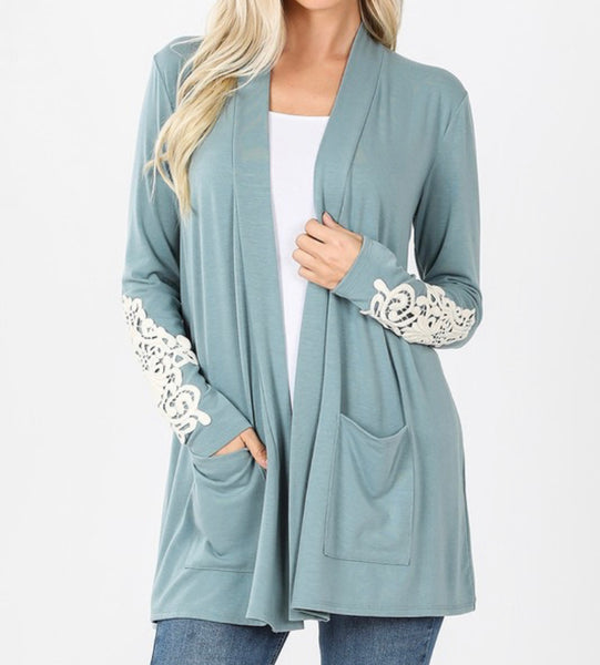 #1046 Sage Queen Anne Lace Sleeve Cardigan