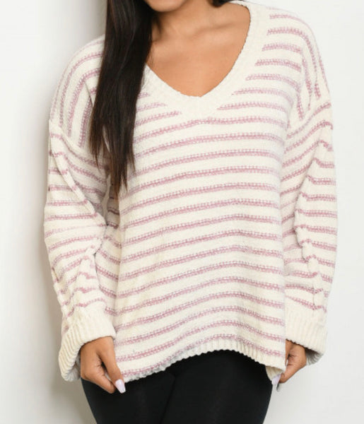 #865 Stripe Ivory & Blush Chenille Sweater