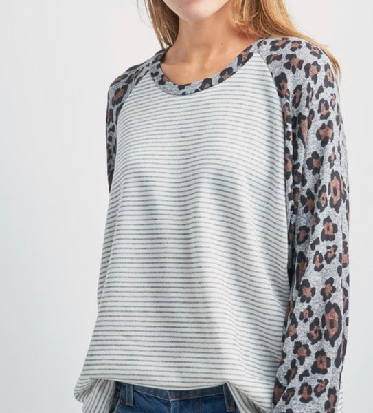 #780 Gray & Mocha Leopard Top